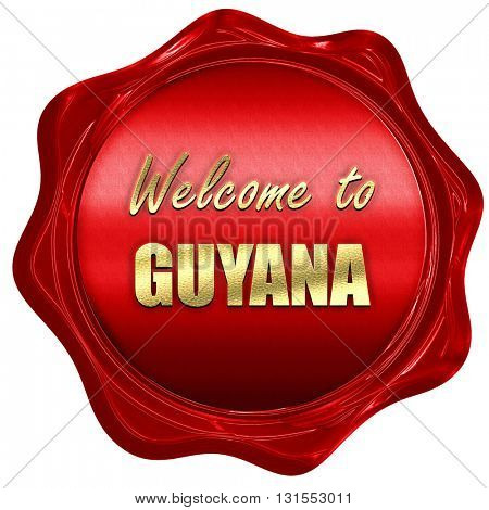 Welcome to guyana, 3D rendering, a red wax seal
