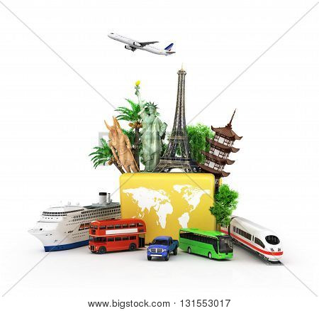 Сoncept of travel and tourism attractions and world yellow suitcase trucks for elom background. 3D illustrations