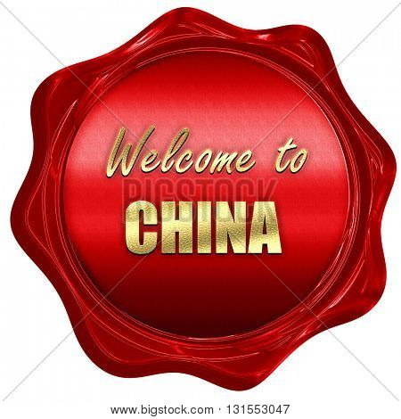 Welcome to china, 3D rendering, a red wax seal