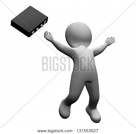 Happy Falling Indicates Business Person And Happiness 3D Rendering