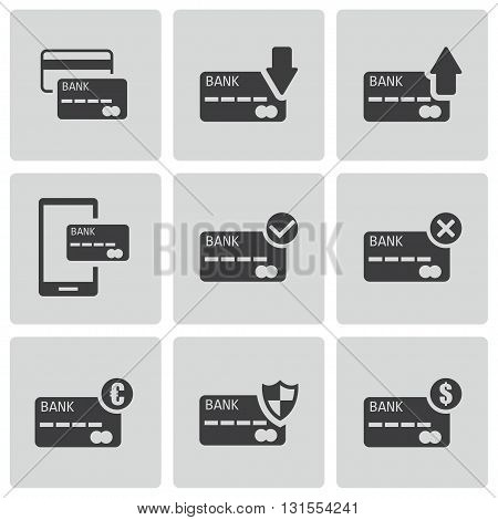 Vector black credit card icons set on white background
