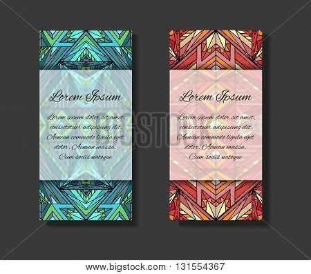Set of templates with ethno pattern and place for text. Template for flyers invitations and your design