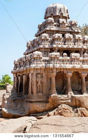 Pancha Ratha old temples in Mammallapuram, India