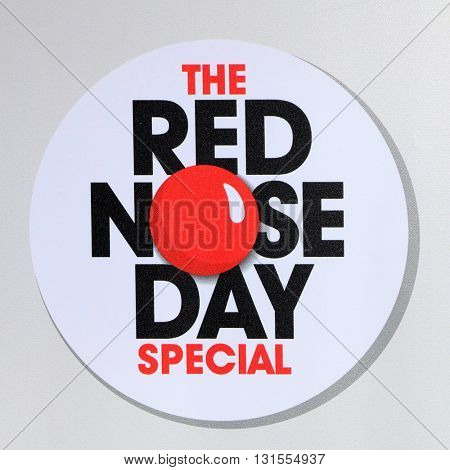 LOS ANGELES - MAY 26:  Red Nose Day Emblem at the Red Nose Day 2016 Special at Universal Studios on May 26, 2016 in Los Angeles, CA