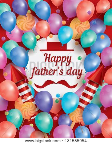 Happy Father Day Card with White Circle and Flying Balloons. Happy Father's Day Poster with Copy Space