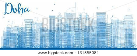 Outline Doha skyline with blue skyscrapers. Business and tourism concept with skyscrapers. Image for presentation, banner, placard or web site