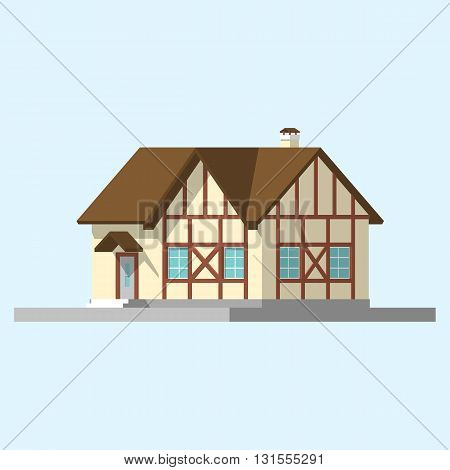 isometric image of a private house. vector flat illustration