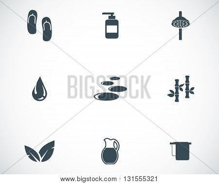 Vector black spa icons set on white background