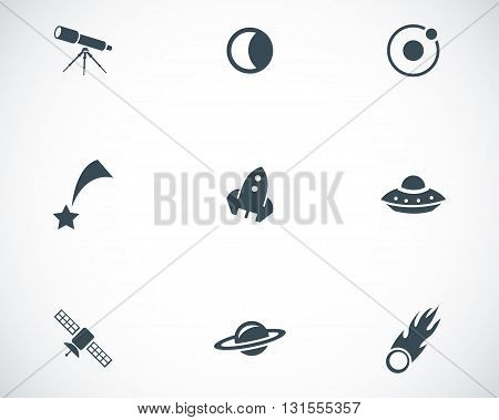 Vector black space icons set on white background