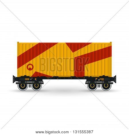 Container, Orange Container on Railroad Platform, Railway and Container Transport, Platform with Container Isolated on White, Vector Illustration