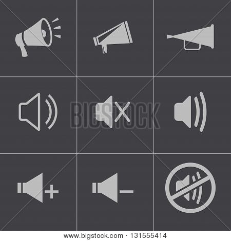 Vector black speaker icons set on grey background