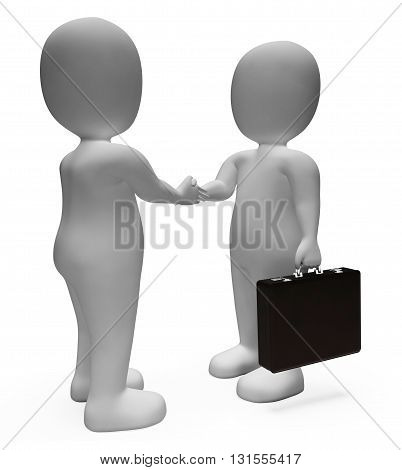 Handshake Businessmen Shows Deal Illustration And Contract 3D Rendering