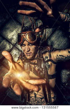 Expressive steampunk over grunge background. Fantasy.