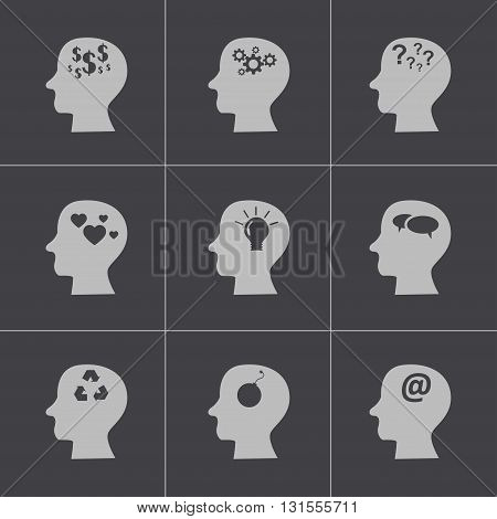 Vector black thoughts icons set on grey background