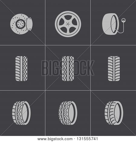 Vector black tire icons set on grey background