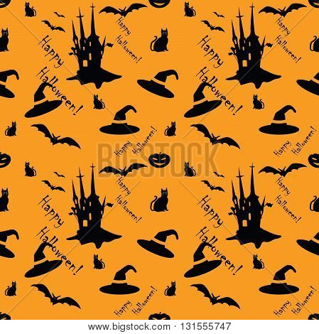 Cute Halloween pattern with castle, bats and hats and cats, for fabric, wrapping paper,etc. Print colors used.