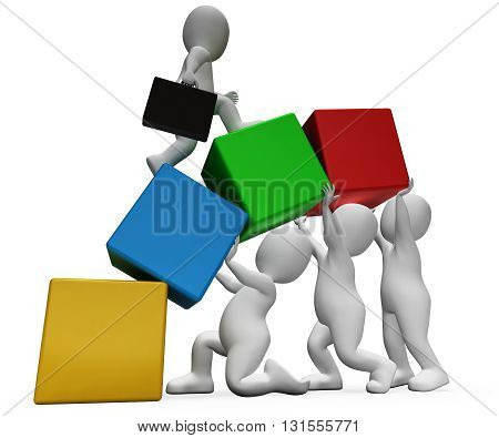 Characters Climb Shows Team Work And Businessman 3D Rendering