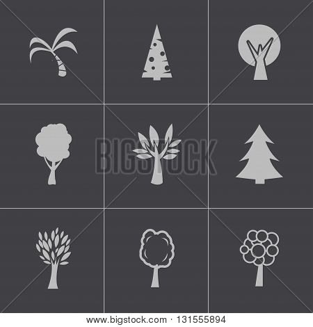 Vector black trees icons set on grey background