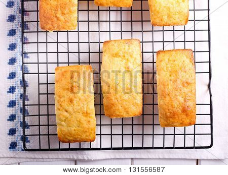 Mini loaf cakes on wire rack top view