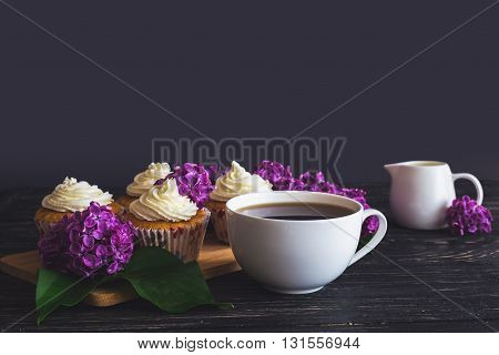 Cupcakes With Cream, Coffee And Flowers