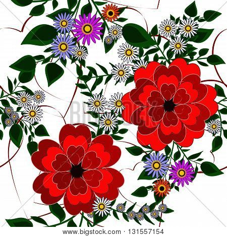 Seamless background with camomiles and abstract red flowers