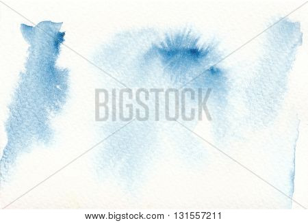 abstract blue watercolor paint on watercolor paper background