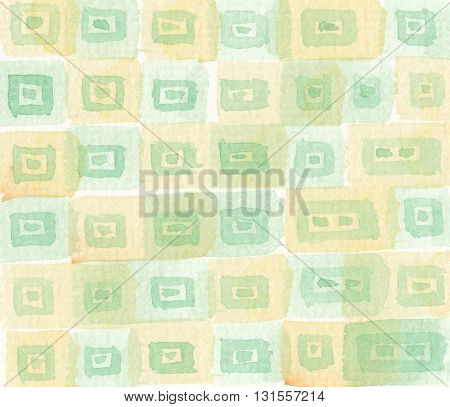 abstract yellow green geometry pattern watercolor background