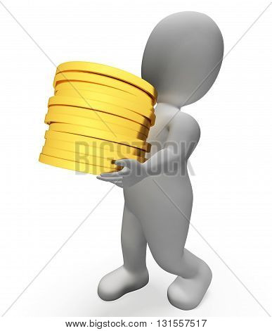 Finance Savings Represents Character Financial And Trading 3D Rendering
