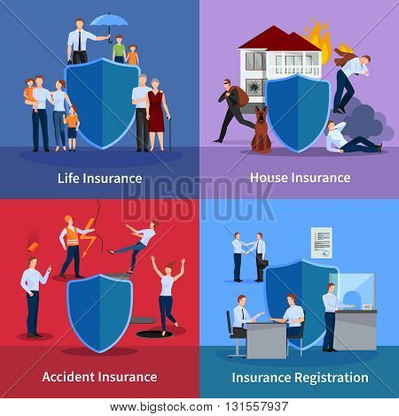 Personal and property insurance with protection of life and against accident  registration of events isolated vector illustration
