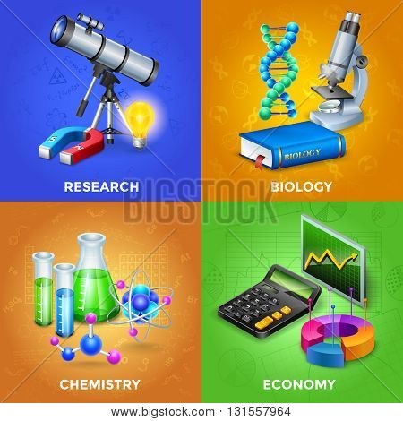 Science 2x2 design concept set with equipment for chemical biological and physical research vector illustration