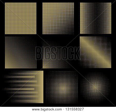 vector set of abstract halftone background with squares of gold