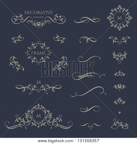 Floral borders and monogram with calligraphic elements. Template signage, labels, stickers, cards. Graphic design page. Classic design elements for wedding invitations.