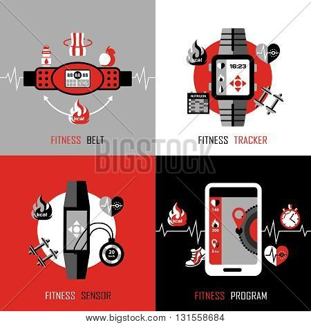 Gadgets for fitness  2x2 design concept set of  fitness tracker fitness belt and smartphone with program for health monitoring flat vector illustration