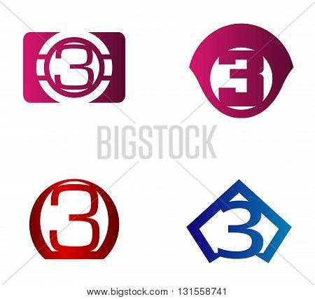 Vector sign number 3. Number 3 logo icon design template elements
