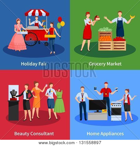 Icons set with vendors providing services for selling clothes fruit vegetables home appliances and holiday fair vector illustration