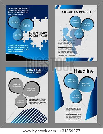 Blue brochure template flyer design vector origami paper layer overlap with sample text for A4 size