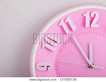 pink clock face close up. twelve hours