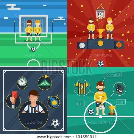 Soccer flat icons composition with game accessories players and judge equipment vector illustration