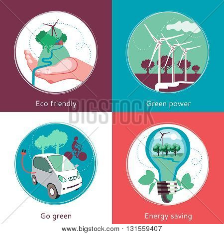 Ecological green energy producing and recycling concept 4 flat icons square composition banner abstract isolated vector illustration
