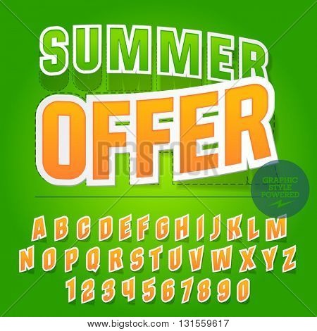 Bright sticker styled set of  alphabet letters, numbers and punctuation symbols. Vector banner with text Summer offer