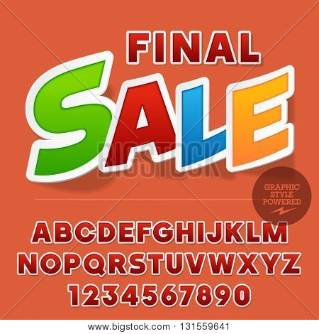 Bright sticker styled set of  alphabet letters, numbers and punctuation symbols. Vector logotype with text Sale