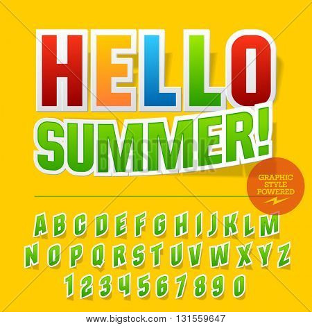 Colorful sticker styled set of  alphabet letters, numbers and punctuation symbols. Vector poster with text Hello summer!
