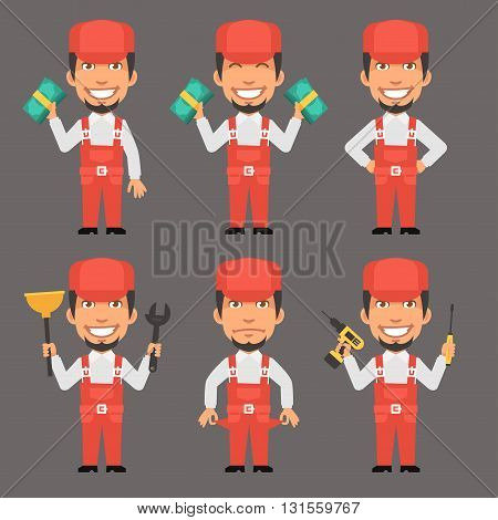 Vector Illustration, Repairman Holds Money and Tools, format EPS 8