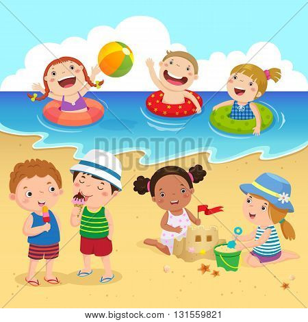 Happy kids having fun on the beach