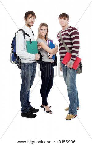 Tema educativo: Grupo de estudiantes felices aislados sobre fondo blanco.