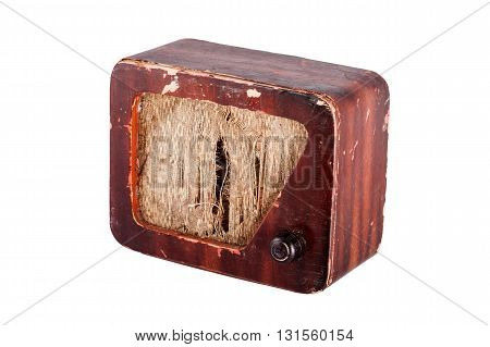 old grunge obsolete radio isolated on white