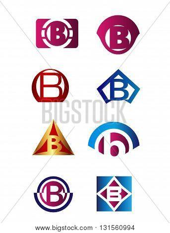 Set of letter B logo Branding Identity Corporate vector symbol design template