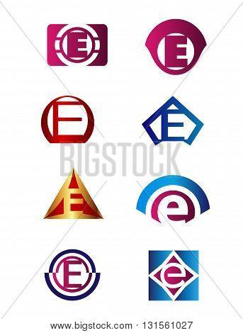 Set of letter E logo Branding Identity Corporate vector symbol design template