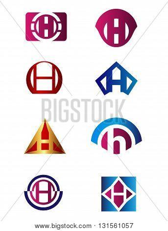 Set of letter H logo Branding Identity Corporate vector symbol design template