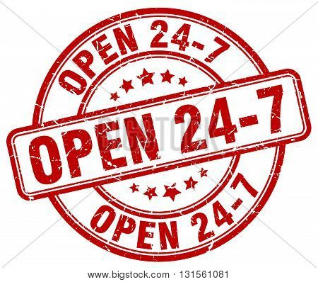 open 24 7 red grunge round vintage rubber stamp.open 24 7 stamp.open 24 7 round stamp.open 24 7 grunge stamp.open 24 7.open 24 7 vintage stamp.